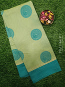 South Kota Saree pastel green and teal simple zari border and thread buttas