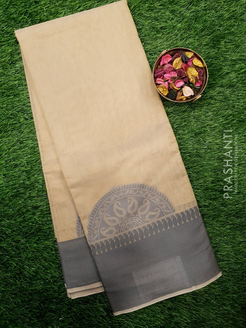 South Kota Saree beige with thread woven pattern in zariless style
