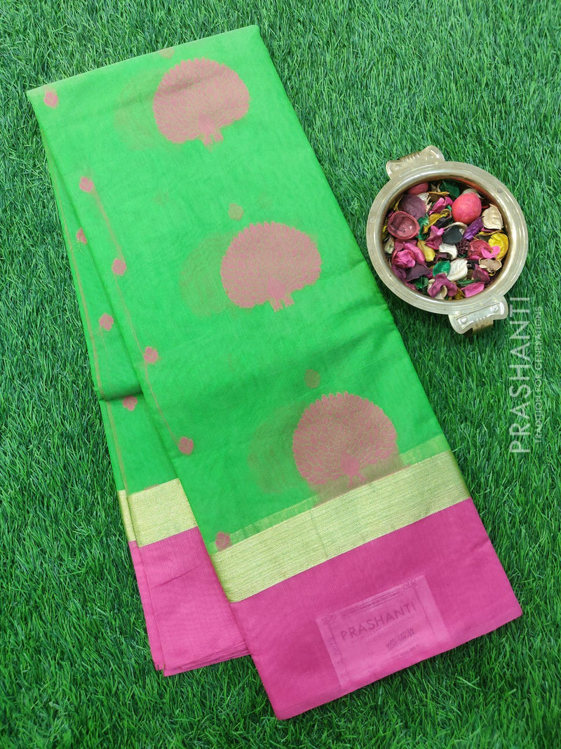 South Kota Saree green and pink with thread woven pattern in zariless style
