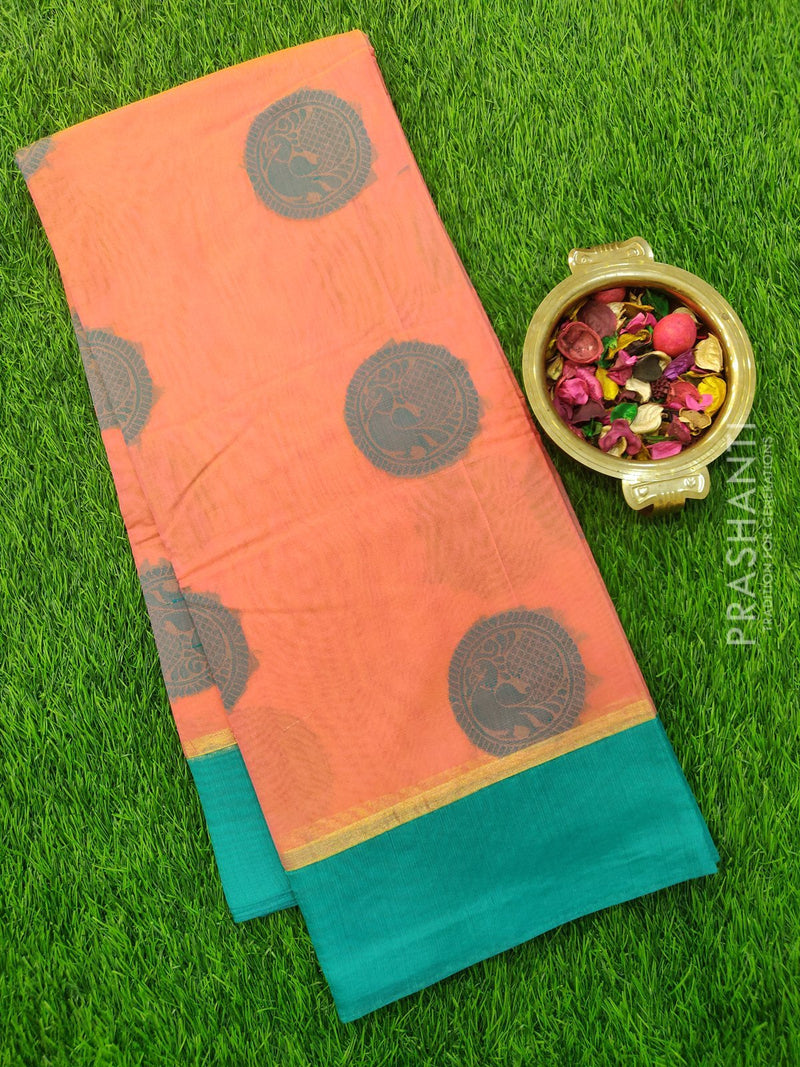South Kota Saree peach pink and teal simple zari border and thread buttas