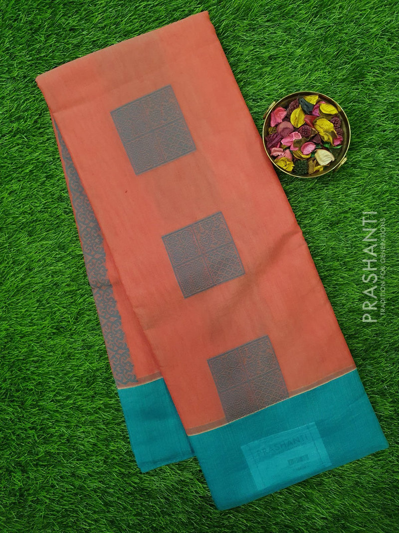 South Kota Saree red and peacock green with thread woven buttas and border