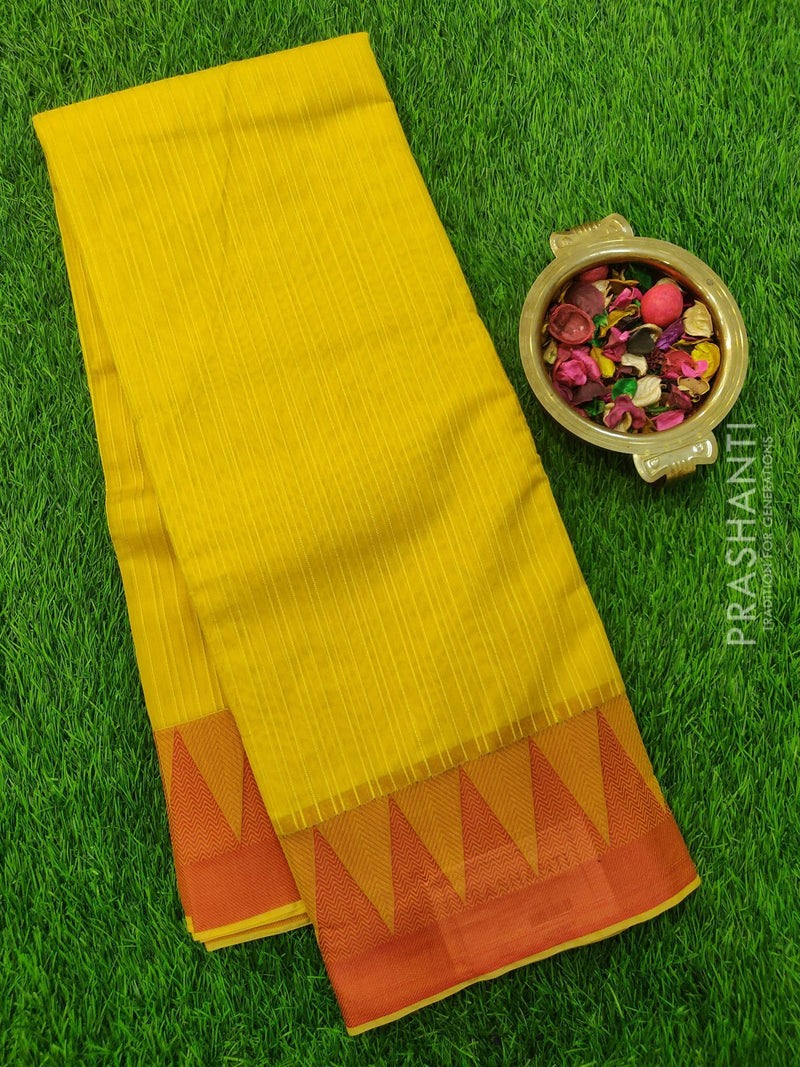 South Kota Saree yellow and red with thread woven pattern in zariless style