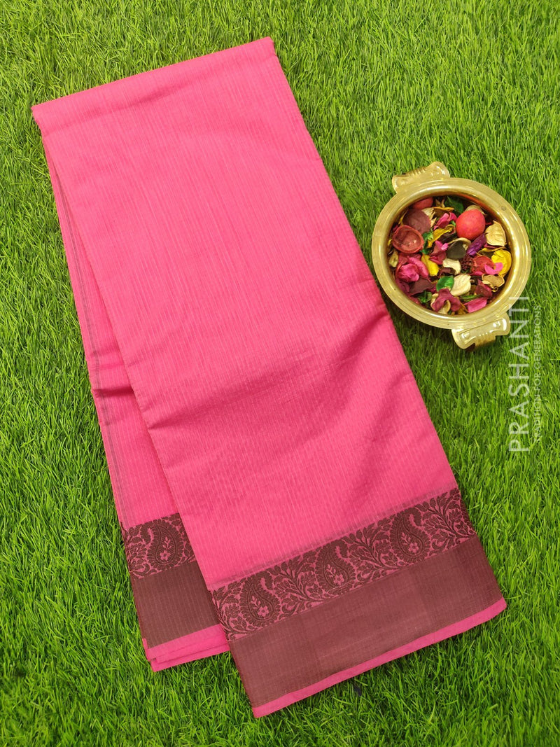 South Kota Saree pink and black with thread woven pattern in zariless style
