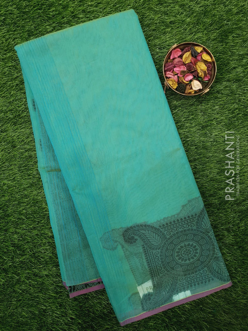 South Kota Saree teal with thread woven buttas in borderless style