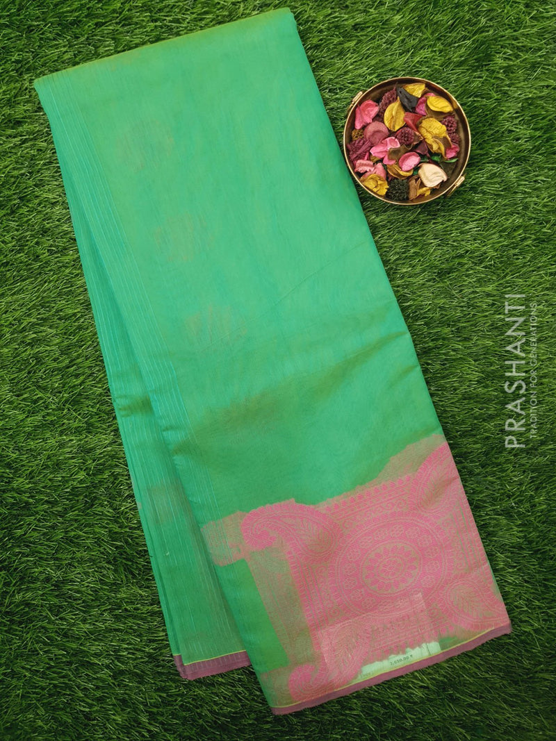 South Kota Saree teal and pink with thread woven buttas in borderless style
