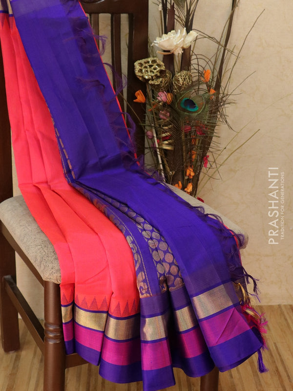 Kuppadam silk cotton saree redish pink and blue with golden zari and thread woven temple border