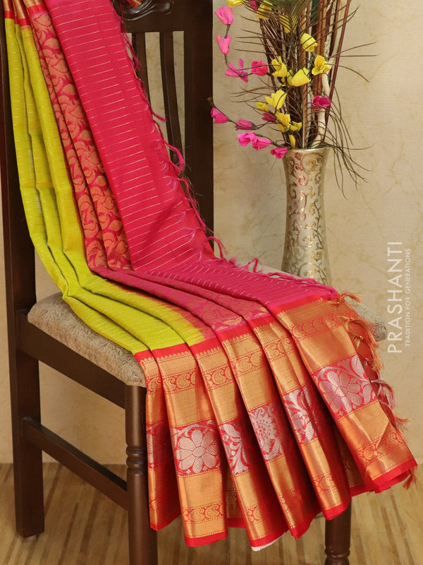Kuppadam silk cotton saree lime green and red with zari checks and buttas with rich zari woven border