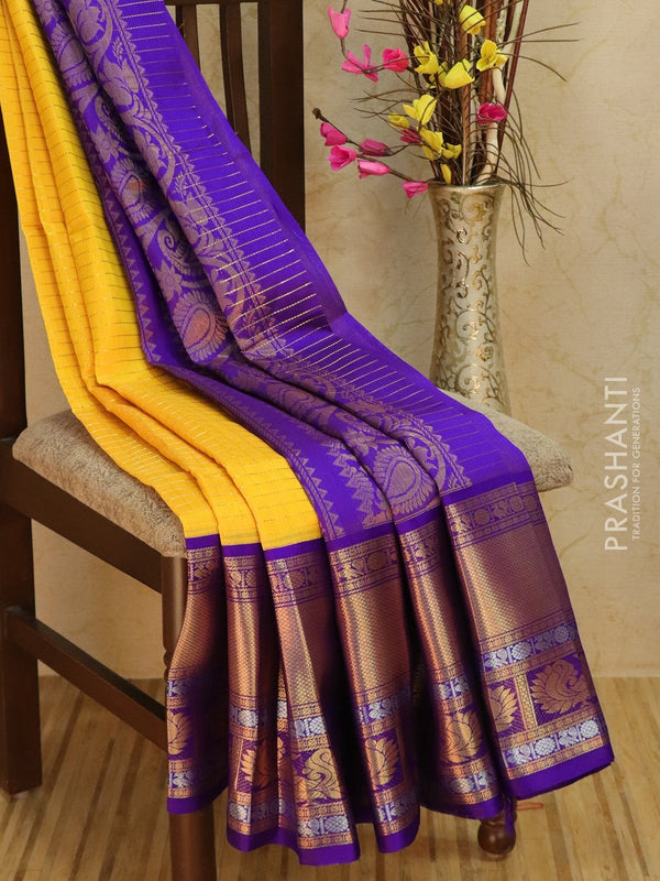 Kuppadam silk cotton saree yellow and violet with zari checks and rich zari woven border
