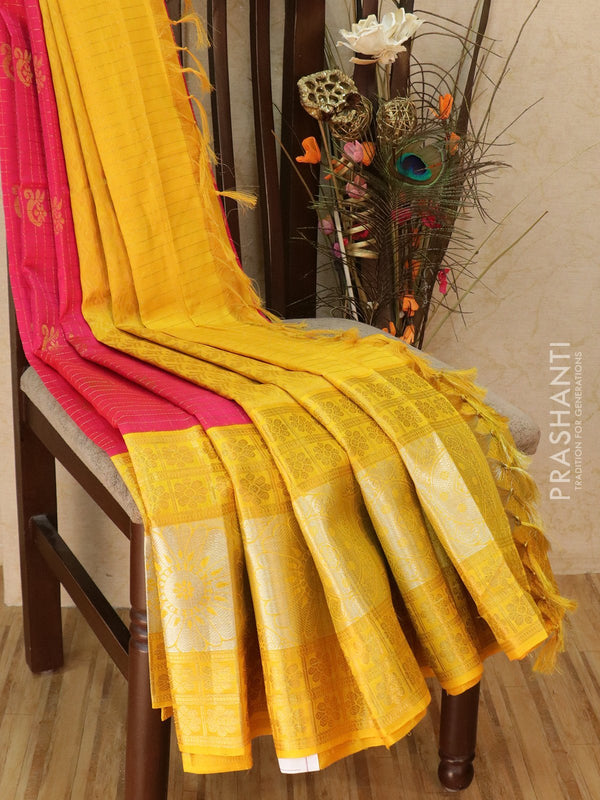Kuppadam silk cotton saree pink and yellow with zari checks and buttas with rich zari woven border