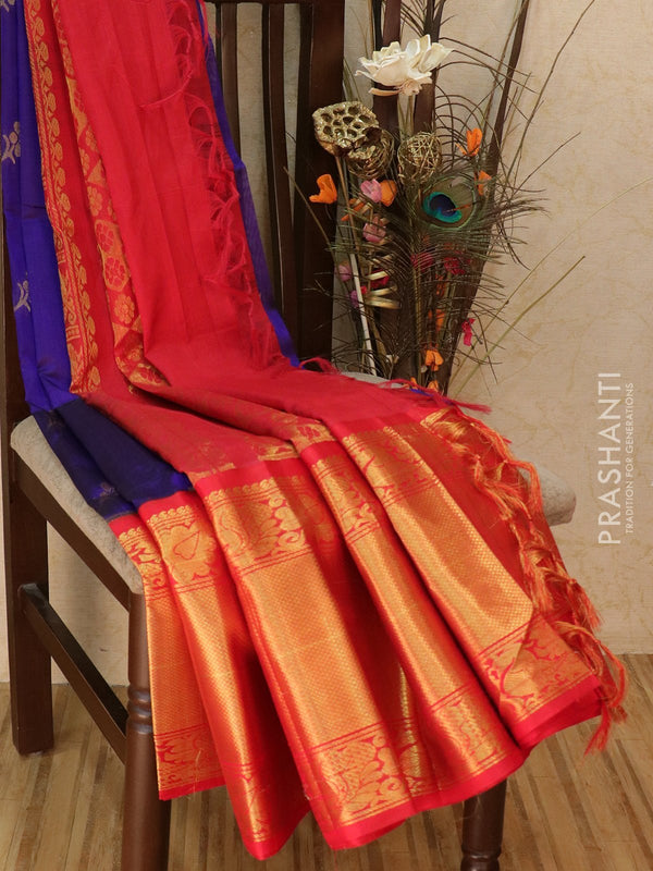 Kuppadam silk cotton saree blue and red with zari woven buttas and rich zari border