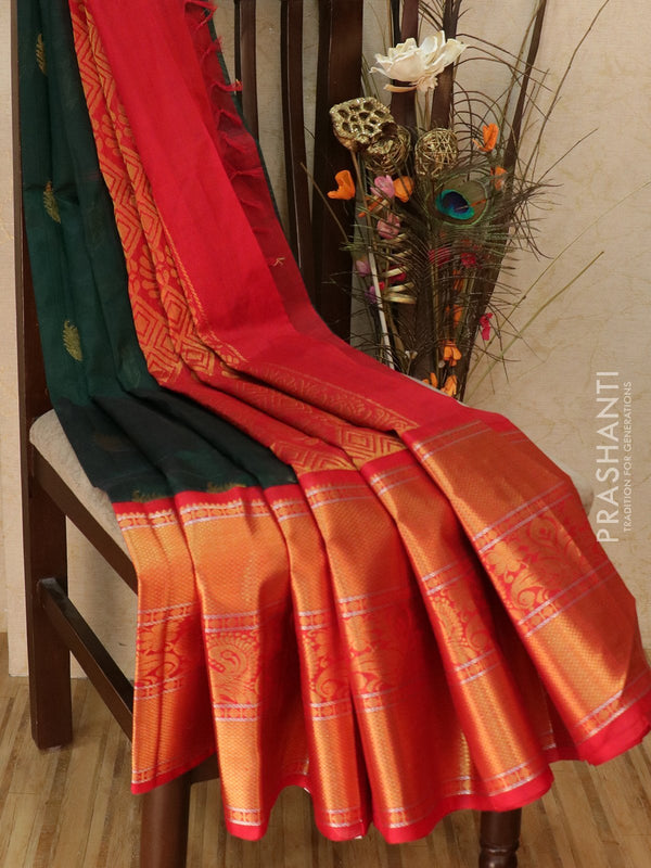 Kuppadam silk cotton saree bottle green and red with zari woven buttas and rich zari border