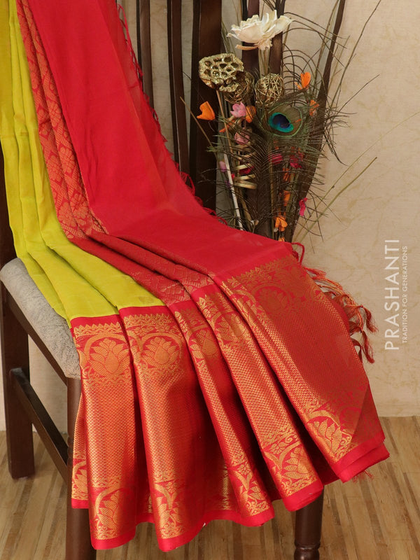 Kuppadam silk cotton saree lime green and red with zari woven buttas and rich zari border
