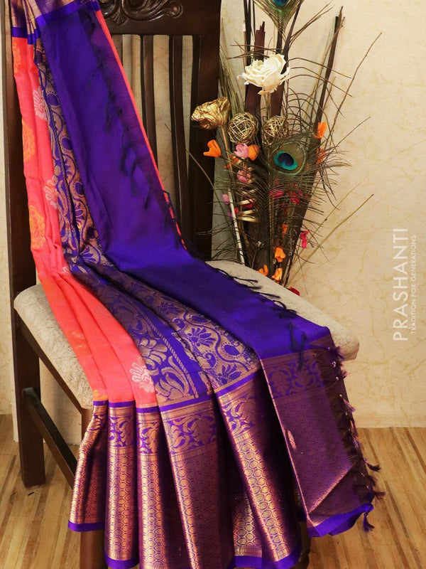 Kuppadam silk cotton saree peach pink and violet with zari woven buttas and rich zari border