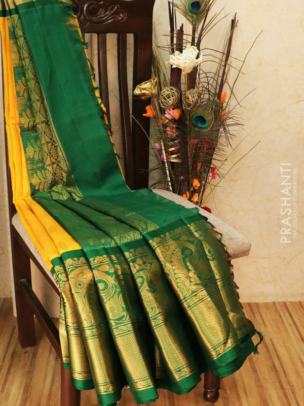 Kuppadam silk cotton saree mango yellow and green with zari woven buttas and rich zari border