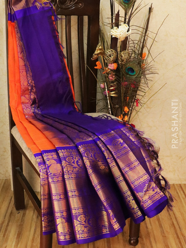 Kuppadam silk cotton saree orange and violet with zari woven buttas and rich zari border