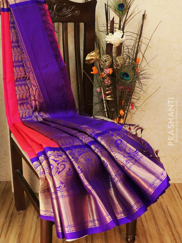 Kuppadam silk cotton saree pink and blue with zari woven buttas and rich zari border