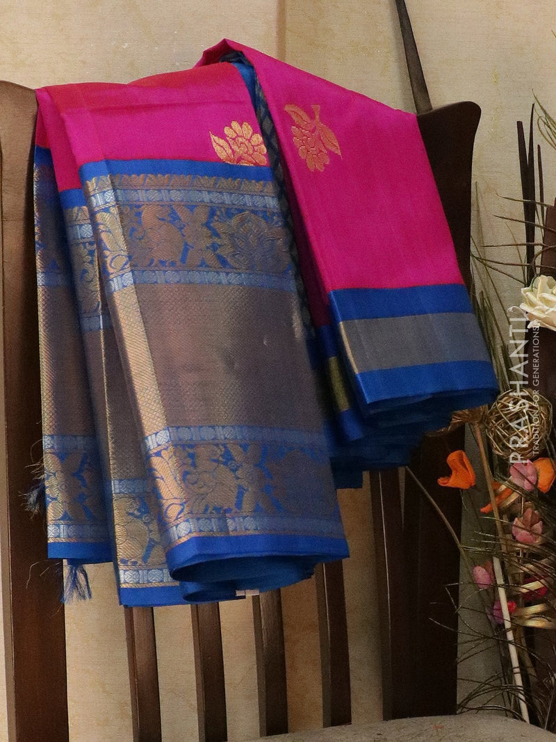 Kuppadam silk cotton saree pink and cs blue with zari woven buttas and rich zari border
