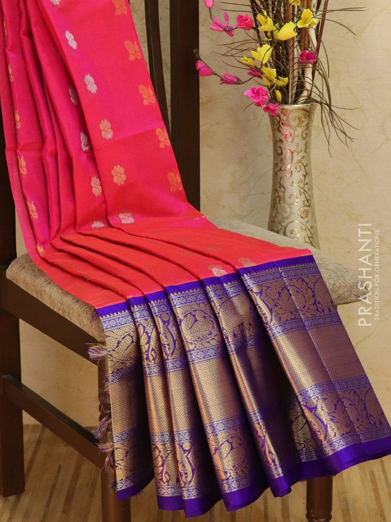 Kuppadam silk cotton saree dual shade of pink and violet with zari woven buttas and rich zari border
