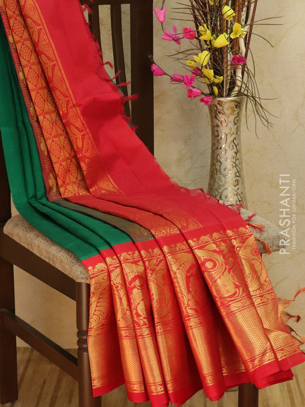 Kuppadam silk cotton saree green and red with zari woven buttas and rich zari border