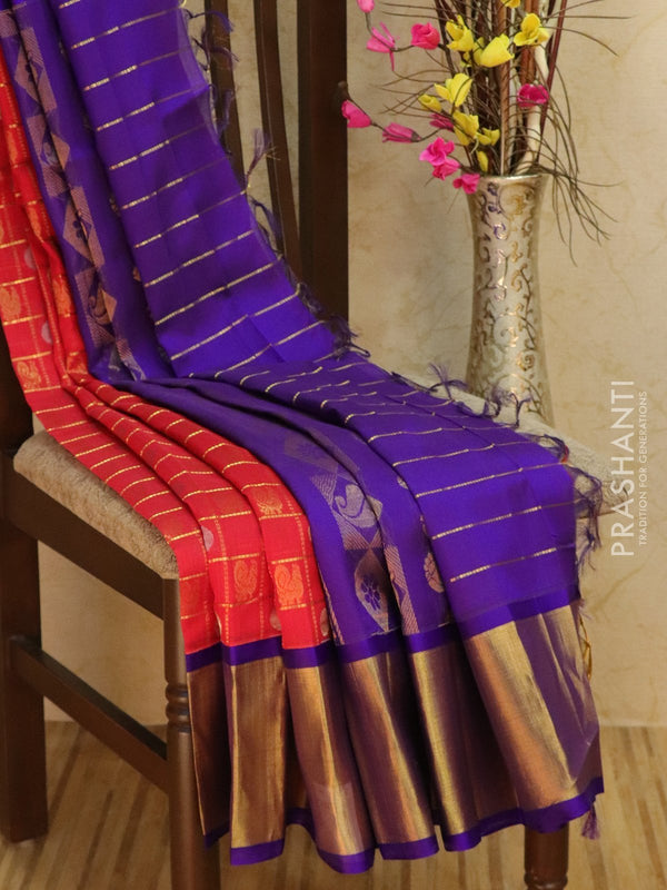 Kuppadam silk cotton saree red and violet with zari checks and buttas with rich border