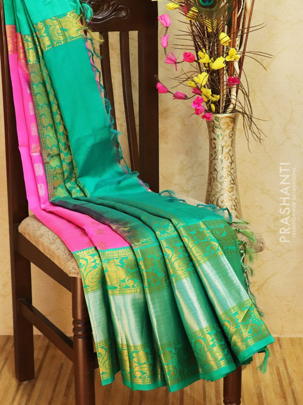 Kuppadam silk cotton saree pink and teal green with golden zari buttas and rich border