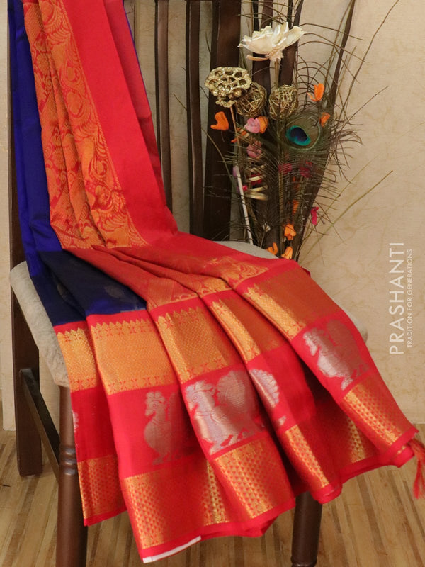 Kuppadam silk cotton saree violet and red with traditional kanjivaram border and zari buttas