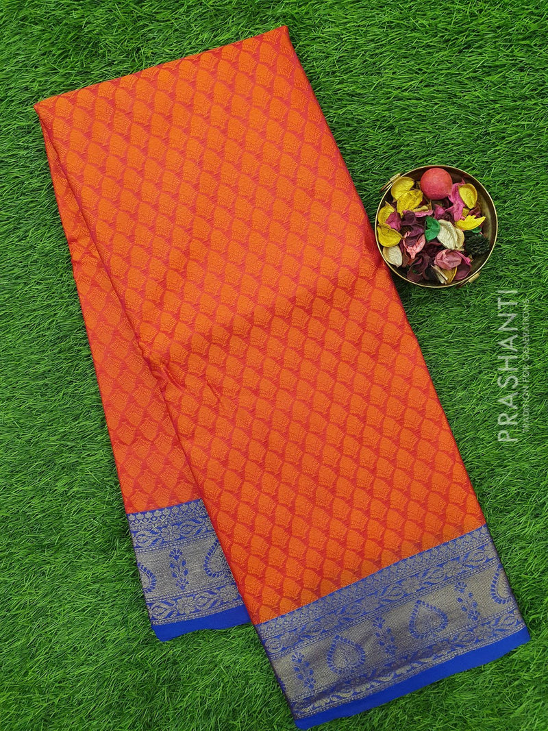 Banarasi kora saree redish orange and blue with thread emboss and zari woven border