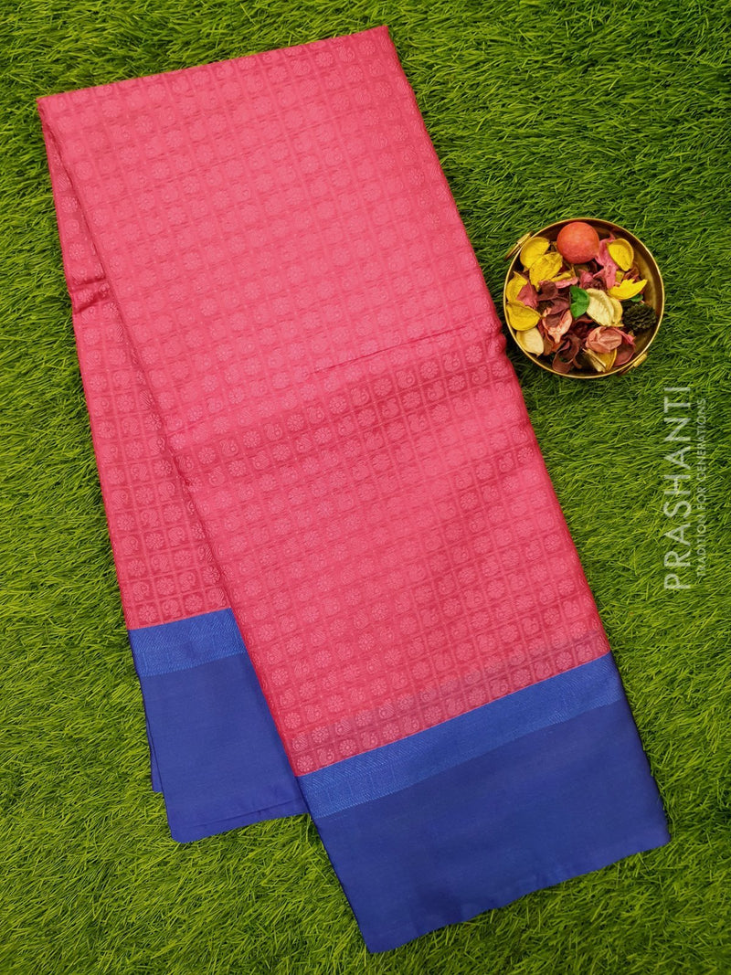 Banarasi kora saree pink and blue with thread emboss and zari woven border