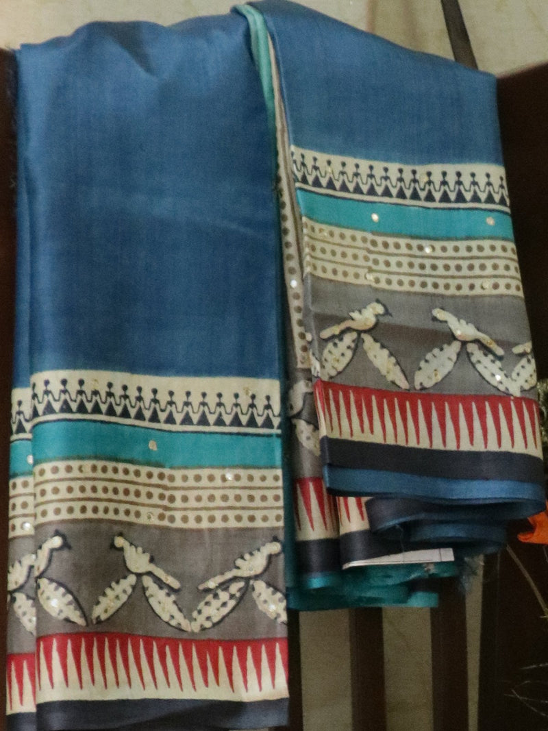 Pure tusssar silk saree mild blue and grey with warli prints and mirror embroidery