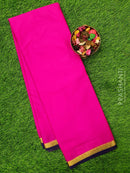 Semi Crepe saree dark pink and navy blue with plain body and rich zari border