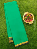 Semi Crepe saree green and navy blue with plain body and paisley zari border