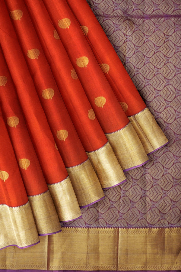 Kanjivaram Silk Saree Orange with Buttas and Violet with Zari border