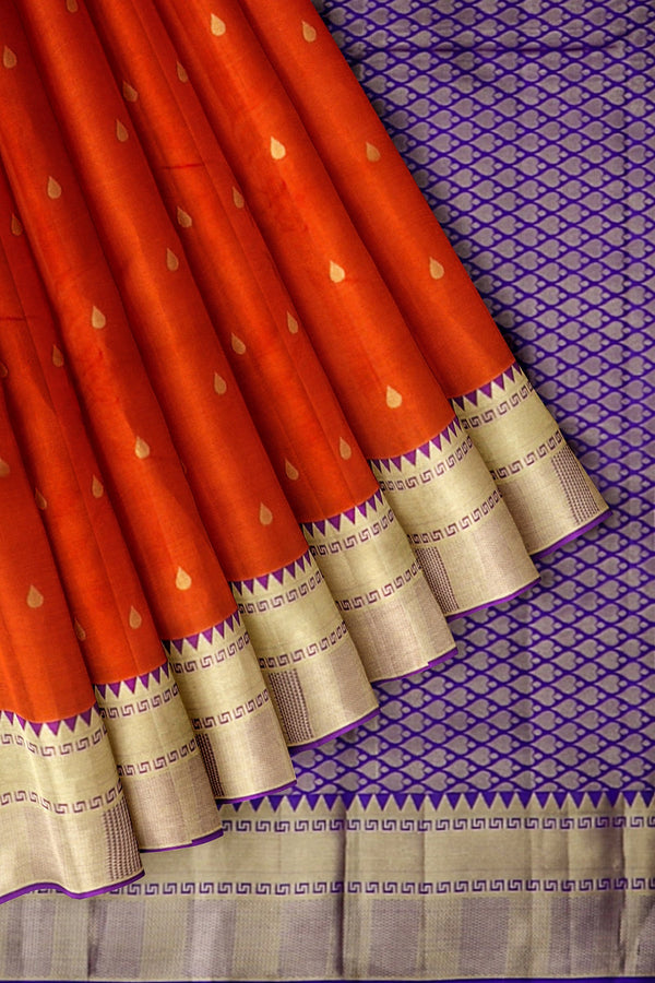 Kanjivaram Silk Saree Brick Orange with Buttas and Violet with Temple Zari border