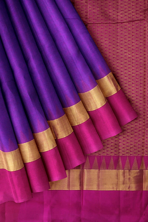 Kanjivaram Silk Saree Indigo Blue with embossed and Temple with zari Border