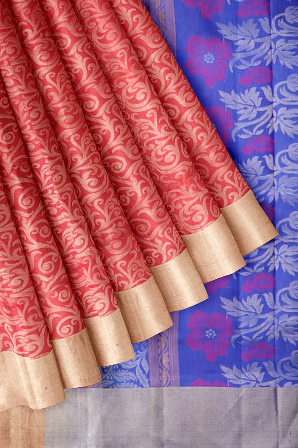 Soft Silk Sare Red with Zari floral Embossed and Simple Zari Border
