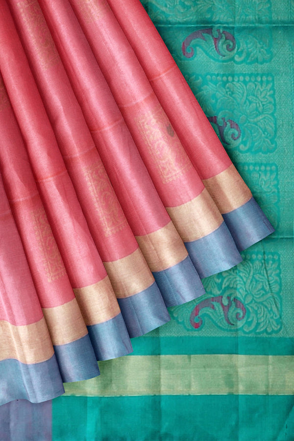 Soft Silk Saree French Rose Color with Buttas and Simple Zari Border
