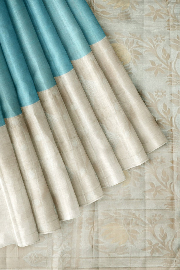 Kanjivaram Silk Saree Teal Blue with Silver Buttas and Beige with Silver Annam Buttas