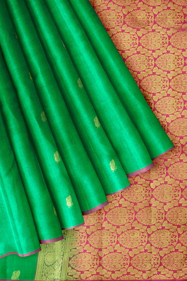 Kanjivaram Silk Saree Green with Annam Buttas