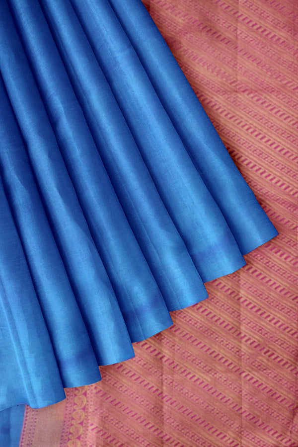 Pure Kanjivaram silk saree peacock blue plain body with contrast pink pallu and jacquard blouse