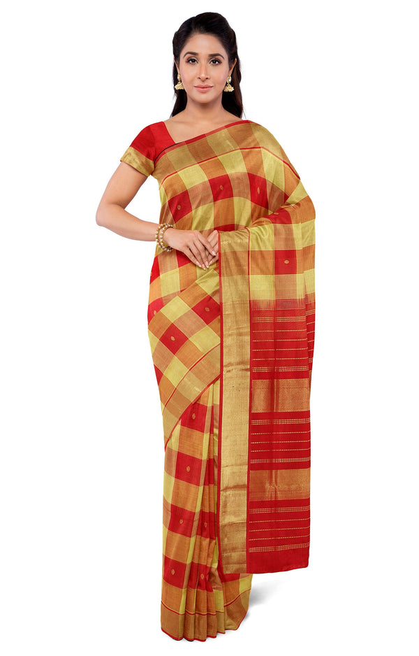 Silk Cotton Saree red with yellow paalum pazhamum checks