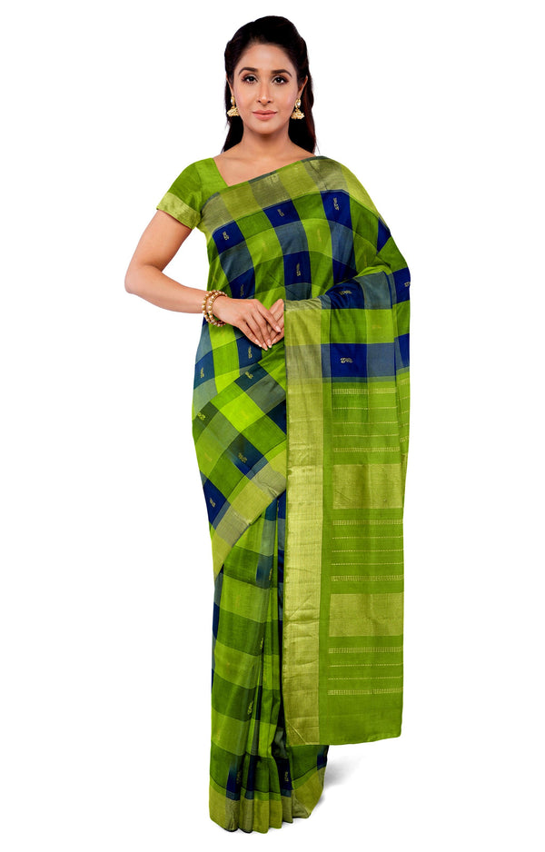 Silk Cotton Saree green with navy blue paalum pazhamum checks