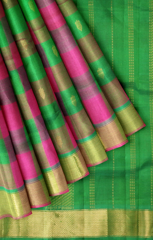 Silk Cotton Saree pink and green paalum pazhamum checks