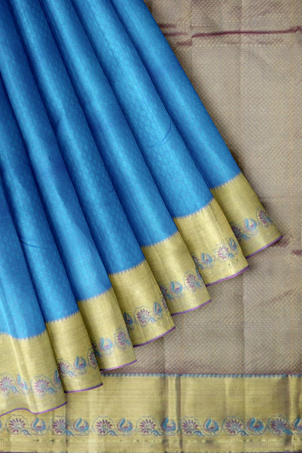 Pure kanjivaram Silk Saree peacock blue and violet with self emboss and getti zari border