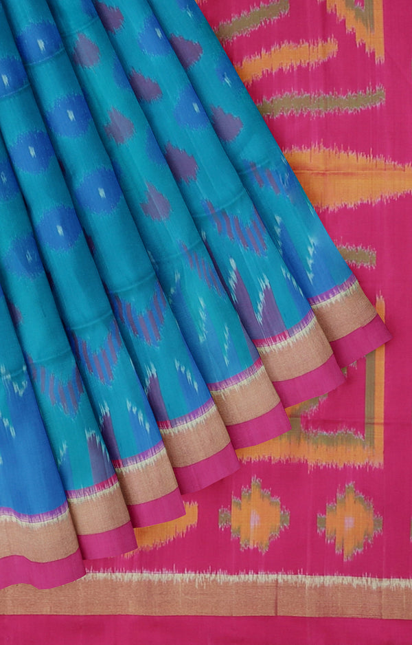 Ikkat soft silk copper sulphate blue with pink Saree