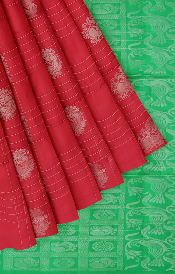 Soft silk saree green and red with silver zari peacock buttas