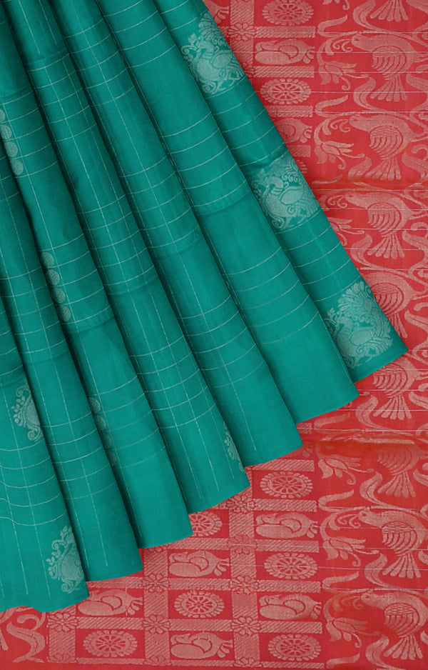 Soft silk saree teal green and dual shade of pink with silver zari peacock buttas