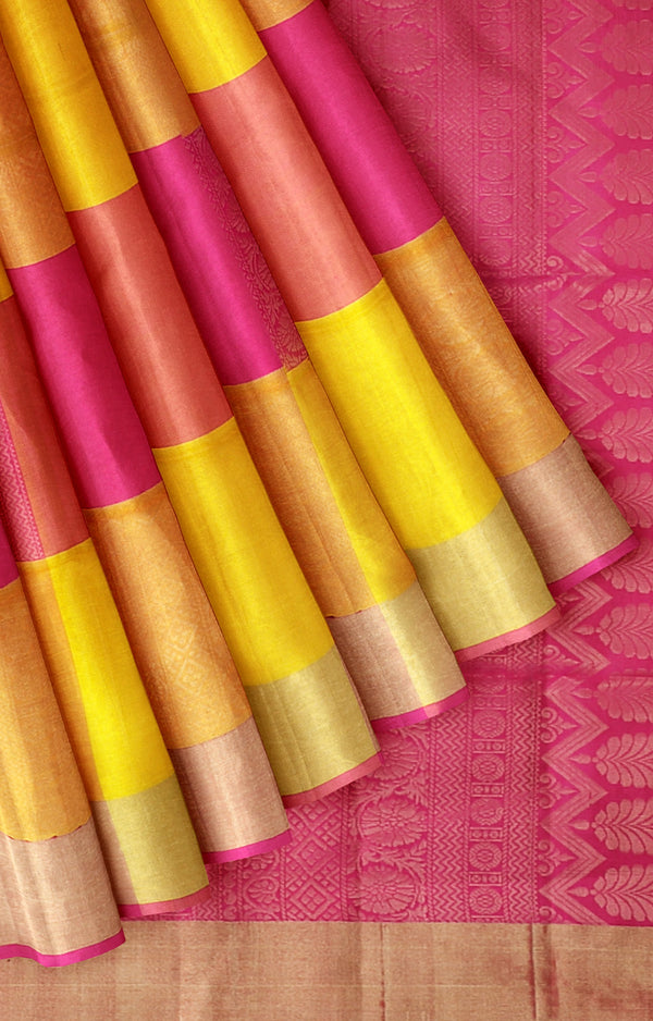 Soft silk saree yellow and hot pink with golden zari checked pattern