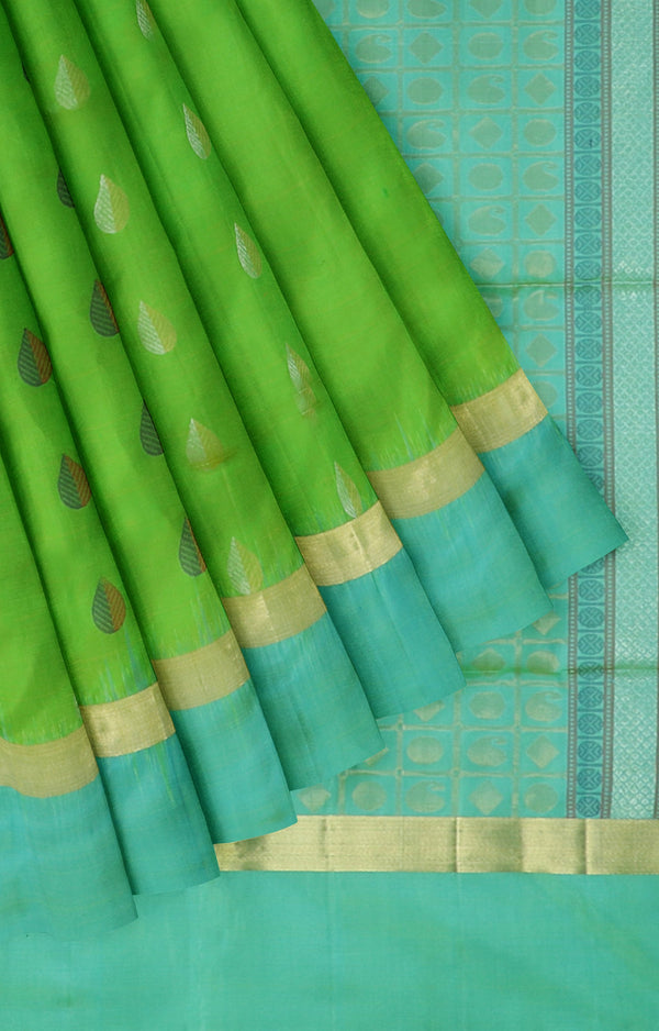 Soft silk saree leaf green and dual shade of blue with gold and silver zari buttas
