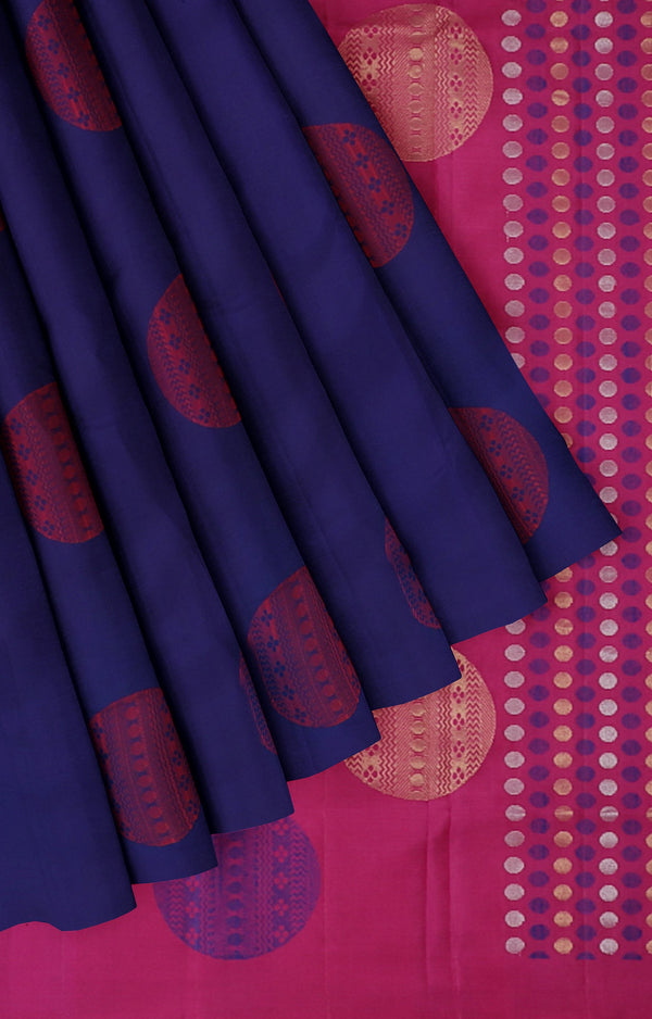 Soft silk saree Navy blue with pink pallu and thread butta with broket blouse