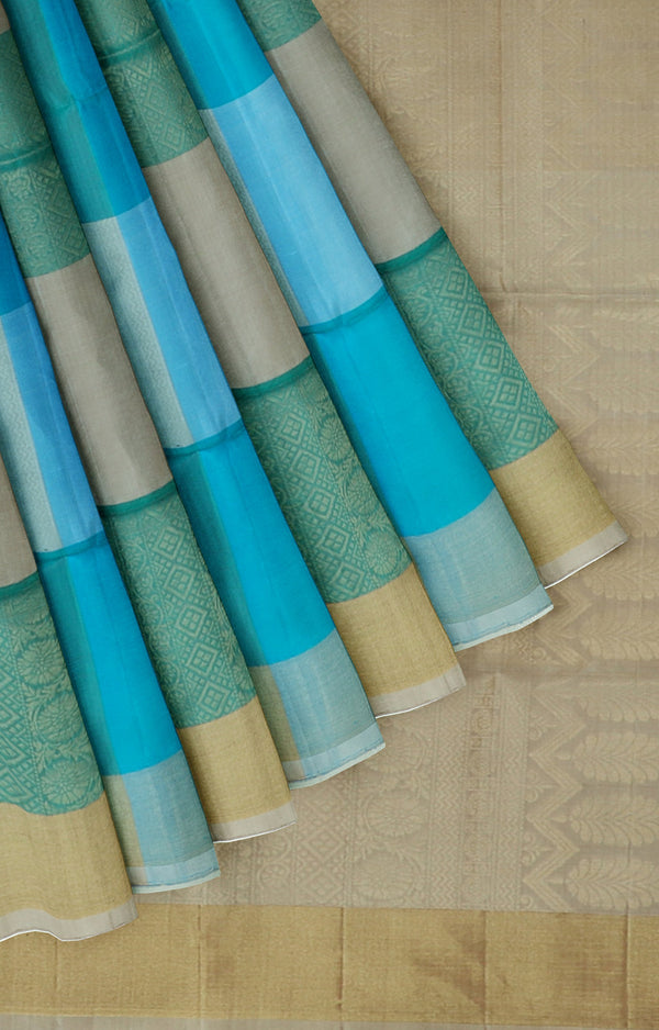 Soft silk saree dual shade of blue with chickoo colour checked pattern